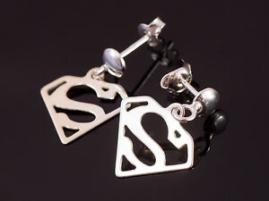 SUPERMAN-SUPERMEN-Earrings-Pendant-Charms-STERLING-SILVER-925