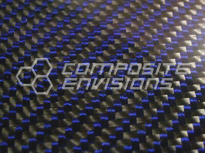 Carbon Fiber Panel Made With Kevlar Blue .022.56mm 2x2 Twill 12x12