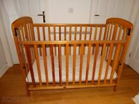 Baby Cot Mamas and Papas brand including Mothercare mattress