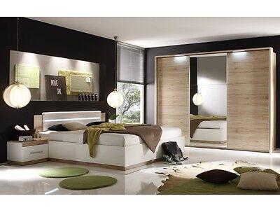 Schlafzimmer Dandy San Remo-Weiß Komplett Doppelbett Kleiderschrank 109571