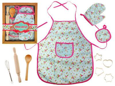 Schürze Set für Kinder Koch Kochschürze Kochkostüm Kinderküche in Blumen - Koch Kostüm Kinder