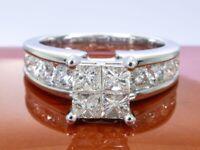14K Gold - entourage quad ring with diamonds --- 1.72 ct - .