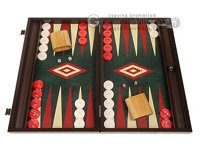 - 19-inch Wood Backgammon Set - Wenge with Green Leatherette Field  | Board Game