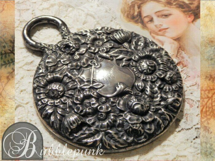 Antique Victorian Sterling Silver Floral Repousse Hallmark Vanity Hand Mirror