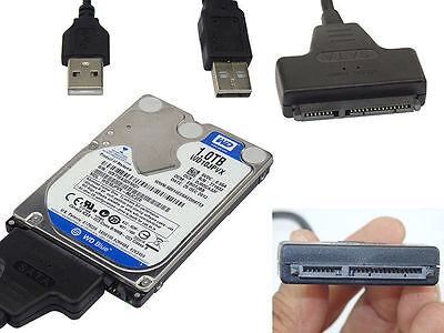 """2.5"""" HDD USB to SATA Serial ATA 15+7 Adapter Cable Lead for PC Laptop Hard Drive"""