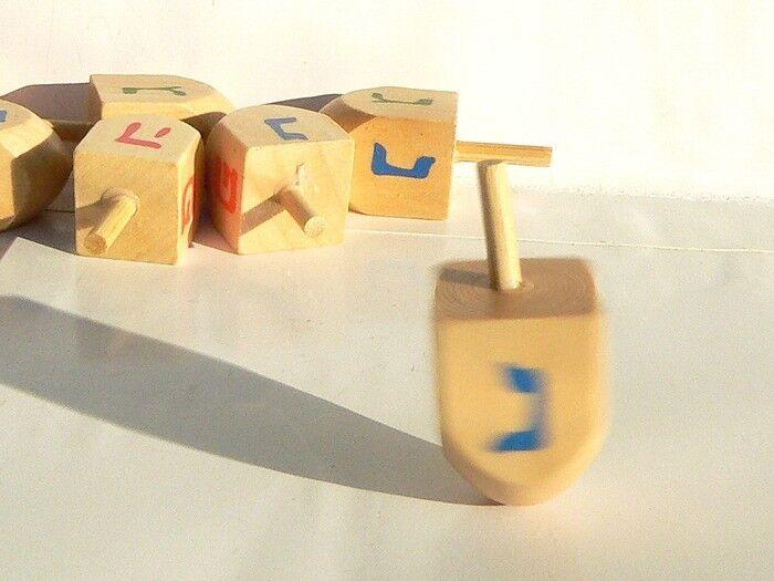 Hanukkah Wood Dreidel Spinning Top, Sevivon Craft Kids Game Jewish Judaica Gift