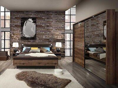 Schlafzimmer Jacky komplett Bett Kleiderschrank mit Beleuchtung Nachttische 0215