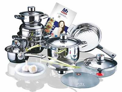 Millerhaus 16PC 7-ply T304 Stainless Steel Cookware Set Pot Induction Compatible