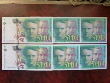 France - 500 Francs 1994 et 1995 Marie Curie (6 pieces)