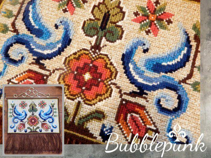 Folkloric Vintage Scandinavian Nordic Wool Needlepoint Wall-Hanging Floral Birds