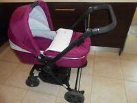 lovely purple and white pushchair/pram/buggy/travel sytem