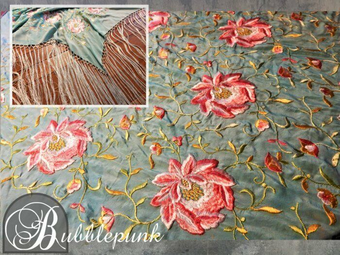 """Antique Immense Embroidery Pink Flower Green Silk 18"""" Fringe Piano Scarf Shawl"""