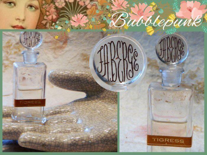 Vintage FABERGE TIGRESS RARE France Glass Bottle Miniature ~ Signature Stopper