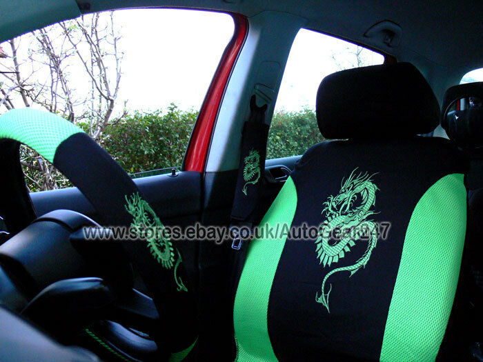 Black Green Dragon Package Car Steering Amp Seat Covers 4pc