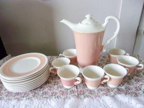 Salmon Color Demitasse Chocolate Tea Set - Tea Pot 6 Small Cups 8 Dessert Plates