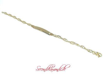 neuw Baby Armband 750 Gold / 18 kt Gravurplatte Taufe Geschenk 14 cm / 3,7 Gramm