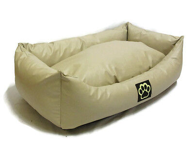 WASHABLE CREAM FAUX LEATHER LARGE DOG BED PET BED DOGBED PETBED