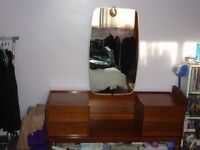 MID CENTURY REAL WOOD DRESSING TABLE WITH LONG MIRROR