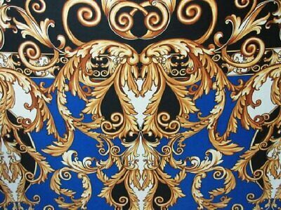 2 yards stretch spandex Venechia fabric royal swirls double border baroque print