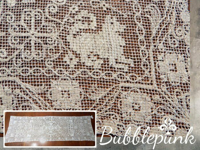Antique Net Filet Lace Table Runner Animals Heavily Worked 50x16 ~ Estate