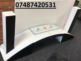 WHITE BLUETOOTH, SPEAKER & DOCKING STATION TV STAND