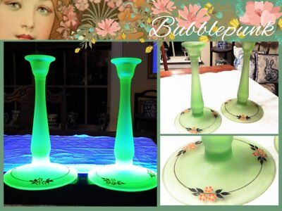 Vintage Frosted Green Uranium Depression Glass Tall Candlestick Pair ~ Glows