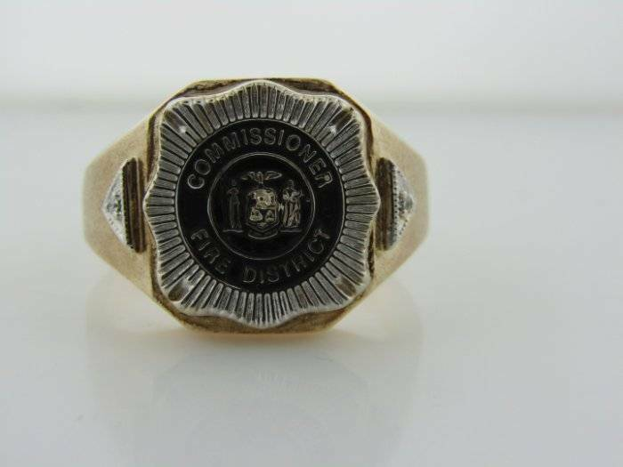 Fire District Commissioner 10k Yellow Gold Fire Dept Firefighter Ring 924200