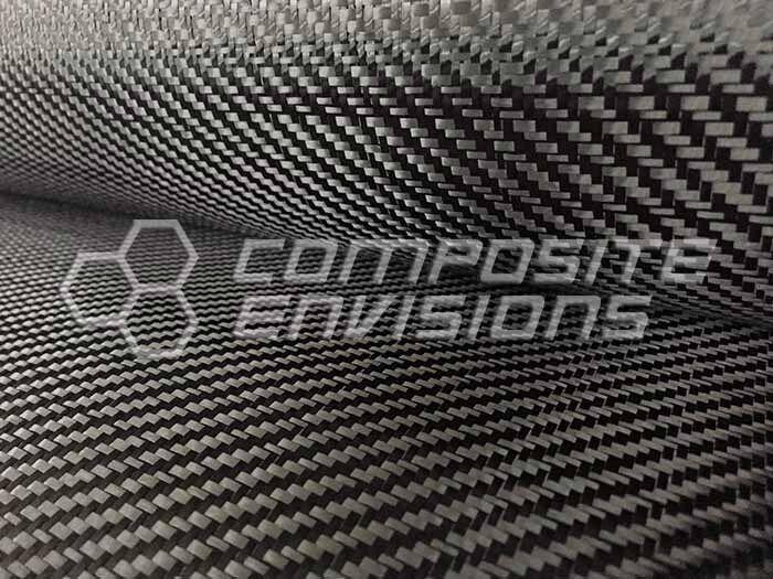 "Carbon Fiber Cloth Fabric 2x2 Twill 50"" 3k 6oz/203.43gsm Commercial Grade"