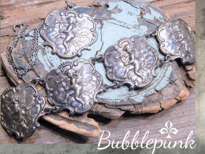 Antique Sterling Silver Cherub Repousse Luggage Tag Panel Bracelet Necklace Set