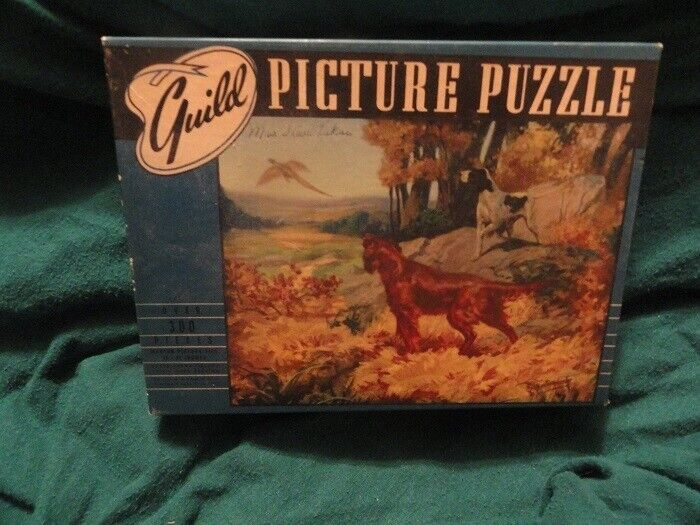 Irish and English Setter Vintage Jigsaw Puzzle Pheasant Over 300 pieces*