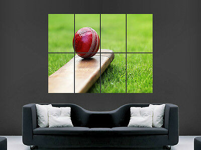 CRICKET BAT AND BALL SPORT   ART WALL POSTER  PICTURE PRINT LARGE HUGE