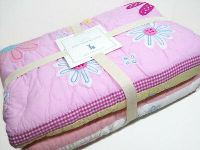 Pottery Barn Kids Pink Daisy Garden Floral Flowers Twin Quilt 1 Euro Sham New for sale  Newark