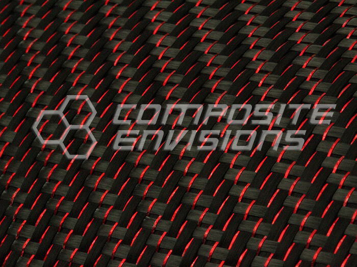 "Red Reflections™ Carbon Fiber Cloth Fabric 2x2 Twill 50"" 3k 5.9oz"