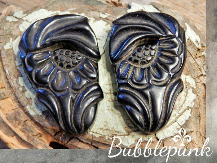 Antique Vintage Deep Carved Black Bakelite Floral Shoe Clip Pair Simichrome Test