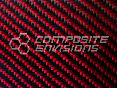 Carbon Fiber Made With Kevlar Red Panel .022.56mm 2x2 Twill - Epoxy-12 X 24
