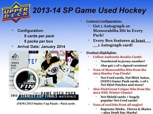 2013-14 Upper Deck SP Game Used Hockey Hobby Box Kitchener / Waterloo Kitchener Area image 2
