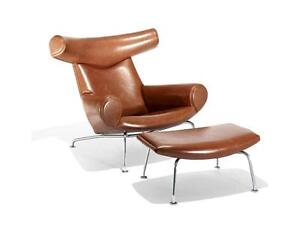 Ox Chair and Ottoman - Full Italian Genuine Waxy Waxy Leather - Clearance Sale!