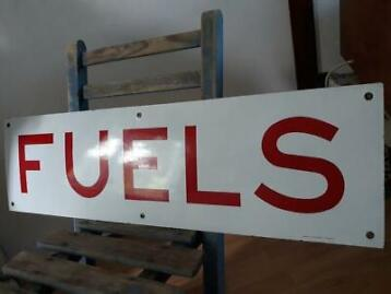 Emaille bord tankstation - Fuels, 1960, Emaillerie Alsacienn
