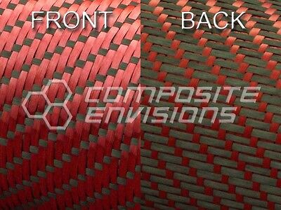Reversible Carbon Fiber/ Red Kevlar Cloth Fabric 3x1 Twill 50
