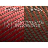 "Reversible Carbon Fiber/ Red Kevlar Cloth Fabric 3x1 Twill 50"" 3k"