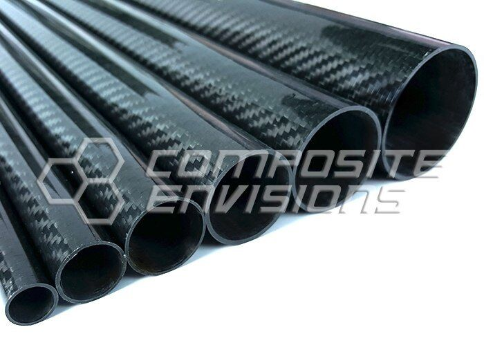 "Roll Wrapped Carbon Fiber Tube Twill Weave Gloss Finish - 1/2"" OD - 48"" long"