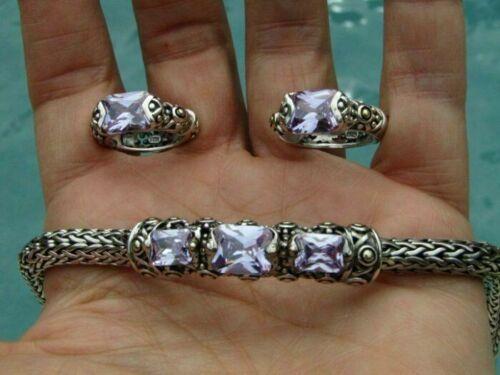 Sterling Silver Wheat Chain Bracelet Earrings Set Tanzanite or Amethyst Stones