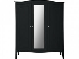 Heart of House Avignon 3 Door Mirrored Wardrobe - Black