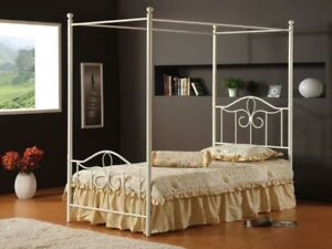 Girls White Princess 4-post Canopy Bed, Mattress and Night Stand