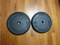 York Barbell poids et halteres / iron weight plates 2x25 lbs