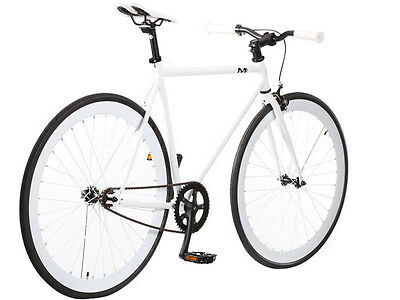 New 58cm Steel Track Fixed Gear Bike Fixie Single Speed Road Bicycle White/White