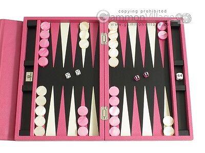 Zaza & Sacci Travel Leather Backgammon Set - Pink Board