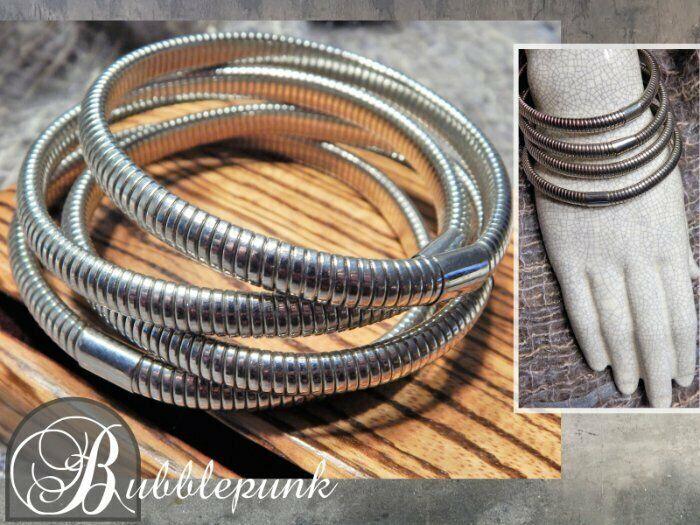 Silvertone Omega Snake Bangle Stacker Bracelet Set/4 ~ Estate Jewelry Buy-Out