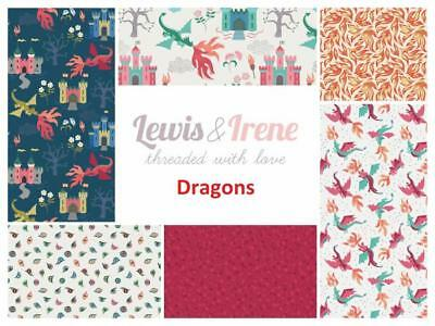 Dragons Fabric by Lewis & Irene Dragons Castles Flames Patchwork Quilting