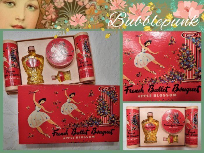 Vintage LANDER French Ballet Bouquet Apple Blossom Perfume Gift Set RARE
